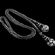 Rhinestone and Black Jet Lariat with Gunmetal Box Chain,  36 Inches