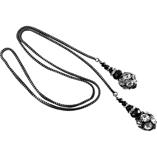 Rhinestone and Black Jet Lariat with Gunmetal Box Chain,  36 Inches