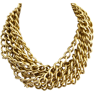 R.J. Graziano Eight Strand Matte Gold Tone Statement Choker, 18""