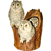 R.S. Carren Porcelain Owl Family in a tree hollow