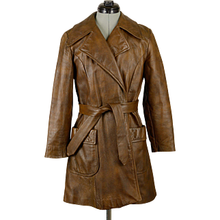Vintage Wilsons Leather Brown Suede Coat with Belt and Pockets