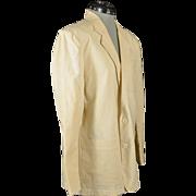 Vintage Cream Colored Miami Vice Style Mens Jacket