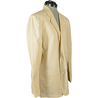 Vintage Cream Colored Miami Vice Style Mens Jacket