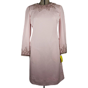 Vintage 1960s Jean Lutece Custom Hong Kong Pink Cocktail Dress with Beaded Neckline & Cuffs