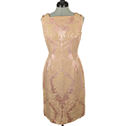 Vintage Rosy Peach Pink Floral Patterned Sleeveless Shift Dress