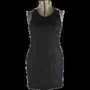 Vintage Black Beaded Sheer Laurence Kazar Silk Wiggle Dress