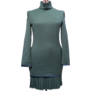 Vintage Parao Asian Sage Green Imported Wool Blend Dress with Pleated Skirting & Satin Trim