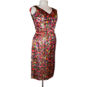 Vintage Classic Watercolor & Gold Sleeveless Summer Sheath Shift Wiggle Dress