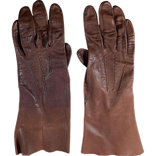 Vintage Small Brown Leather Gloves, Size 6