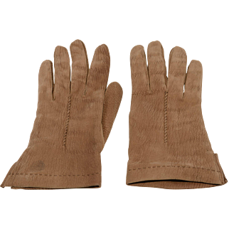 Vintage Brown Italian Suede Driving Gloves, Size 7