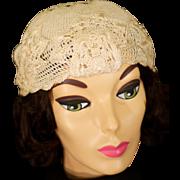 Vintage Crocheted Cream Bridal Helmet Cloche Cap