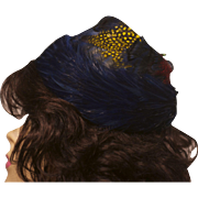 Vintage 1960s Multicolored Peacock Feather Toque or Pillbox Hat