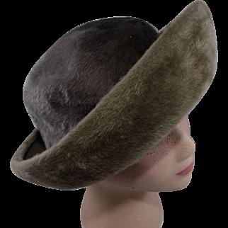 Vintage Gray Schiaparelli Paris Boater Hat