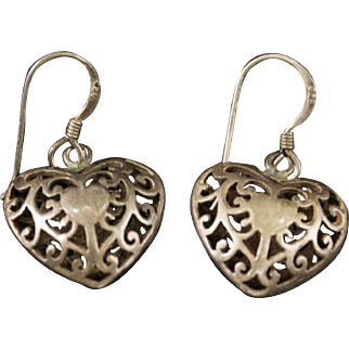 Vintage Sterling Silver 925 Puffed Heart Wire Earrings