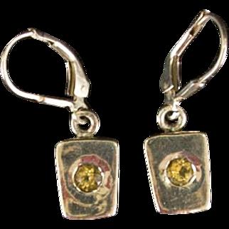 Vintage Sterling Silver 925 Hinge Backed Drop Earrings with Smoky Brown Topaz Rhinestones