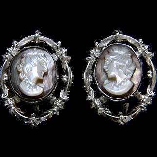 Vintage Sterling Silver Cameo Screw Back Earrings