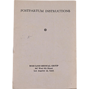 Vintage Postpartum Instruction Booklet