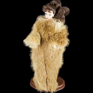 Vintage Handmade Brown and Beige Mink Fur Barbie Snow Suit