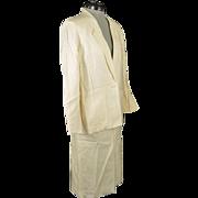 Vintage 1980s Cream Colored Liz Claiborne Summer Skirt Suit Outfit