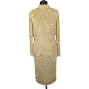 Vintage He-Ro Beaded and Sequined Silk 2-Piece Top and Skirt Set
