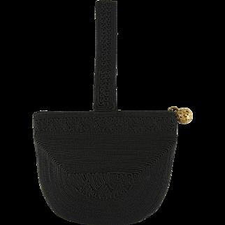 Vintage Roum Black Crocheted Corde Zipper Purse
