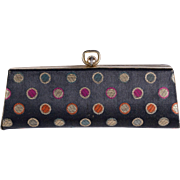 Vintage Black and Multicolored Polka Dot Lined Clutch Coin Purse