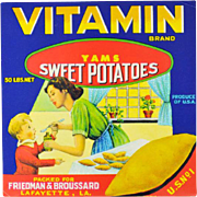 Vitamin Brand Yam Sweet Potatoes Vintage Label