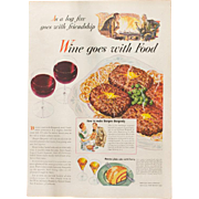 "Vintage 1944 ""Wine Goes with Food"" WWII Advertisement"