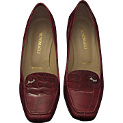 Vintage Bruno Magli Designer Red Italian Leather Crocodile Print Pump Shoes