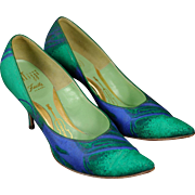 Vintage Mijji Blue and Green Leather Stiletto Heels