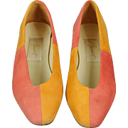 Vintage Apart Orange and Pink Suede Pumps, 6B
