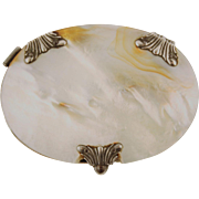 Rare Mother of Pearl and Silver Oval Pocket Magnifying Glass