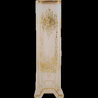 Gold Etched Crystal Flower Vase