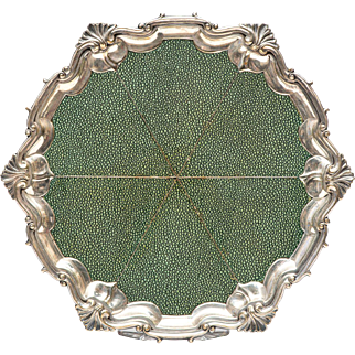 Silver plated shagreen covered tray