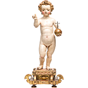 Jesus Savior of the World, 18th Century, Sevilla Spain School, Polychromed Wood