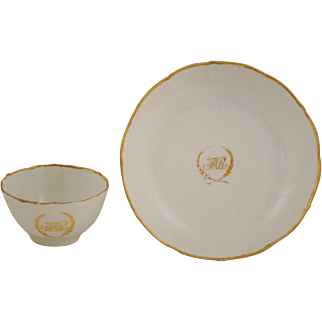18th Century Chinese Export White and Gold Plate and Bowl