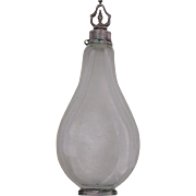 19th Century Crystal Perfume Bottle with Silver Base and Top