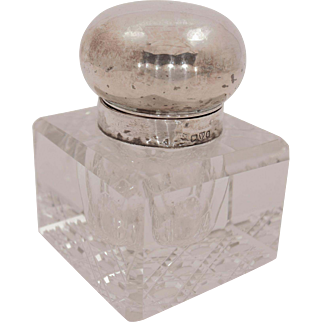 Beautiful Crystal and Silver Inkwell