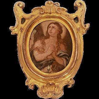 19th Century Neapolitan Oval Painting on Metal