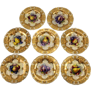 Eight Albert Shuck Fruit Painted Cabinet Plates by Royal Worcester