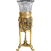 Pairpoint Gilt Bronze and Art Glass Footed Centerpiece Vase, circa 1910