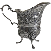 Extraordinary Simon Rosenau German 800 Silver Footed Milk Jug Creamer, 19th Century