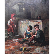 "Joseph Jost (Austrian, 18th Century) Oil on Canvas Painting,  ""The Broken Plate"" 1910 Signed"