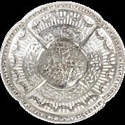 German 800 Silver Pierced Scalloped Rim Bowl, circa 1900. Repousse Floral Swags