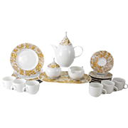 16 Piece Rosenthal Studio Line Gilt Magic Flute Tea Service for 6 by Bjorn Wiinblad