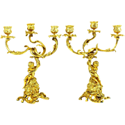 Pair Antique French Gilt Bronze Cherub or Putti Candelabras Candlesticks, 19th Century