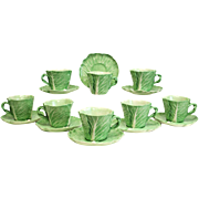 8 Dodie Thayer Porcelain Lettuce Ware Leaf Coffee Cups, Hand Crafted Earthenware