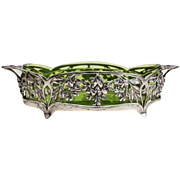 Gallia Silverplate and Green Art Glass Footed Centerpiece Bowl, circa 1900