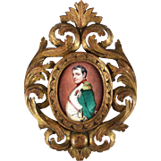 French Enamel on Metal Miniature Portrait Plaque, 19th Century - Napoleon with  Sword
