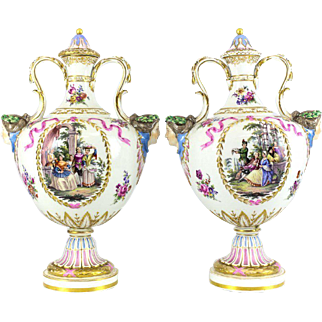 Pair of Berlin KPM Porcelain Hand Painted Urns with Female Bust Ends, circa 1900
